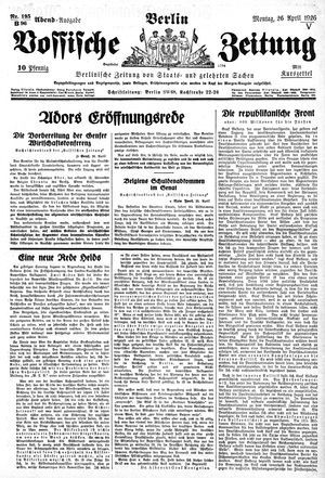Vossische Zeitung vom 26.04.1926