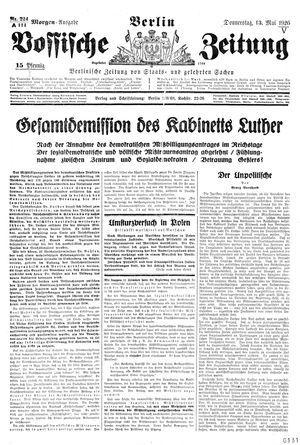 Vossische Zeitung on May 13, 1926