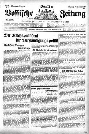 Vossische Zeitung vom 03.01.1927
