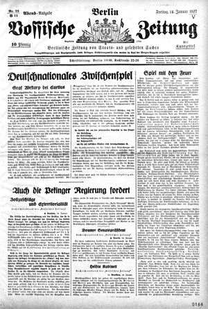 Vossische Zeitung vom 14.01.1927
