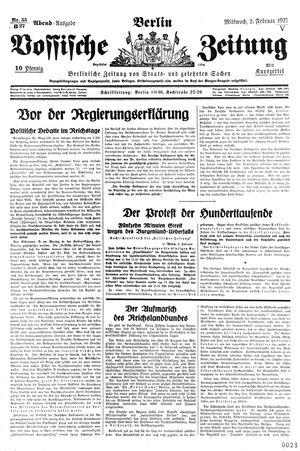 Vossische Zeitung vom 02.02.1927