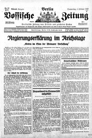 Vossische Zeitung vom 03.02.1927