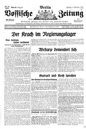 Vossische Zeitung on Feb 4, 1927
