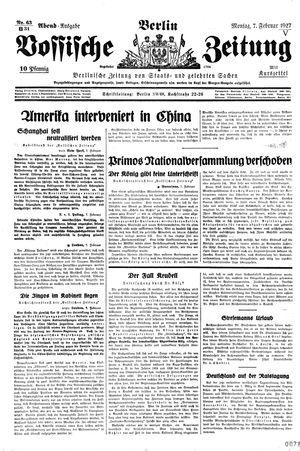 Vossische Zeitung vom 07.02.1927