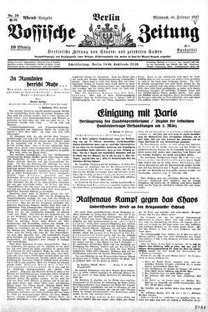 Vossische Zeitung vom 16.02.1927