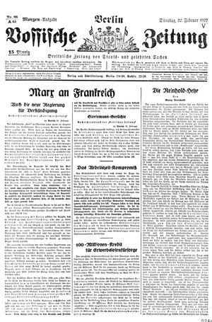 Vossische Zeitung vom 22.02.1927