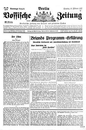 Vossische Zeitung vom 27.02.1927
