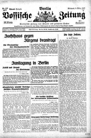 Vossische Zeitung vom 09.03.1927