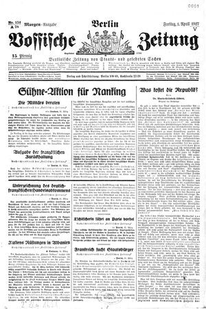 Vossische Zeitung vom 01.04.1927