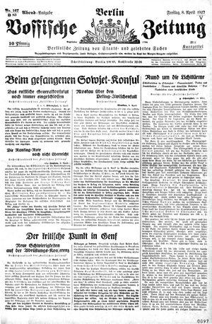 Vossische Zeitung vom 08.04.1927