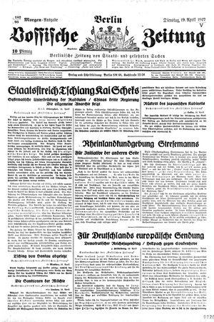 Vossische Zeitung vom 19.04.1927