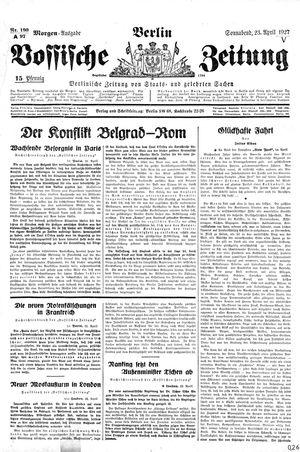 Vossische Zeitung vom 23.04.1927
