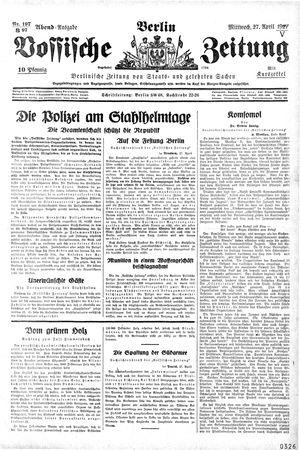 Vossische Zeitung on Apr 27, 1927