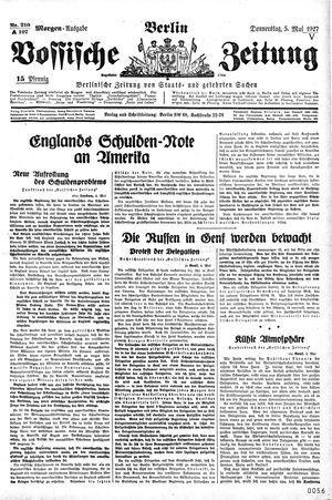 Vossische Zeitung on May 5, 1927