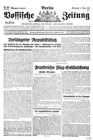 Vossische Zeitung vom 11.05.1927