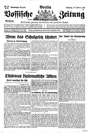 Vossische Zeitung vom 29.01.1928