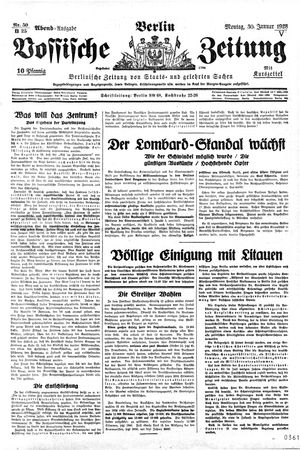 Vossische Zeitung vom 30.01.1928