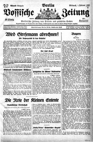 Vossische Zeitung vom 01.02.1928
