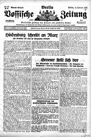 Vossische Zeitung vom 10.02.1928