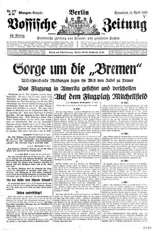 Vossische Zeitung vom 14.04.1928