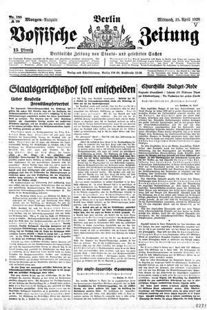 Vossische Zeitung vom 25.04.1928