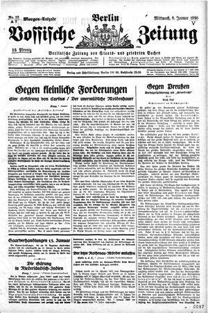 Vossische Zeitung vom 08.01.1930