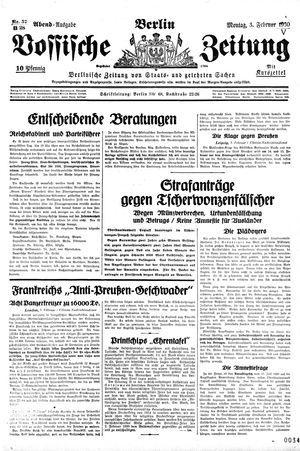 Vossische Zeitung vom 03.02.1930