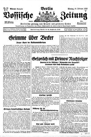 Vossische Zeitung vom 10.02.1930
