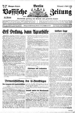 Vossische Zeitung vom 09.04.1930