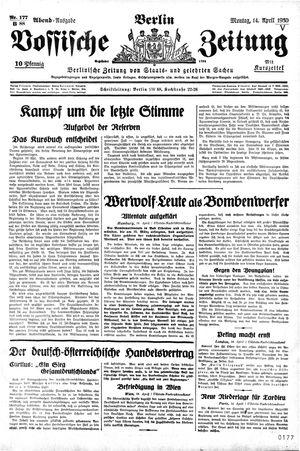Vossische Zeitung vom 14.04.1930