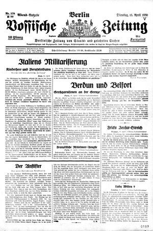 Vossische Zeitung on Apr 15, 1930