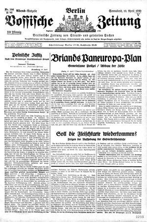 Vossische Zeitung vom 19.04.1930