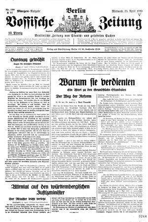 Vossische Zeitung vom 23.04.1930