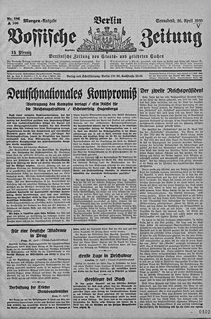 Vossische Zeitung vom 26.04.1930