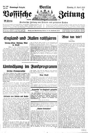 Vossische Zeitung vom 27.04.1930