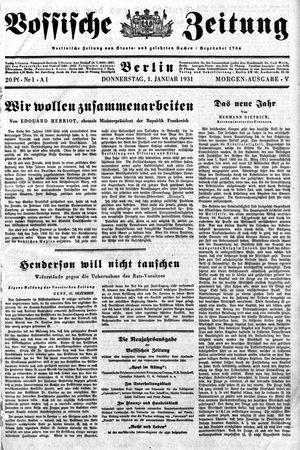 Vossische Zeitung vom 01.01.1931