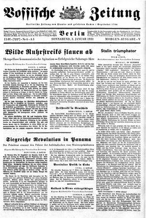 Vossische Zeitung vom 03.01.1931