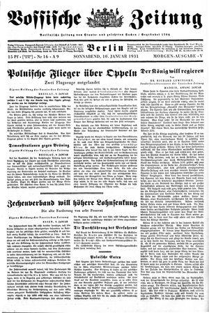 Vossische Zeitung on Jan 10, 1931