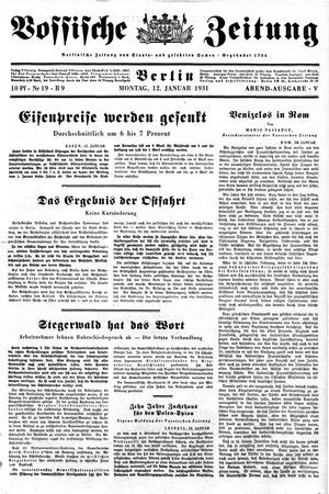 Vossische Zeitung vom 12.01.1931