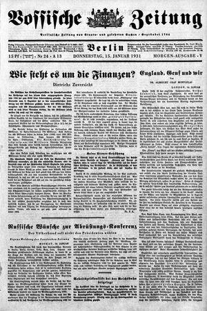 Vossische Zeitung on Jan 15, 1931
