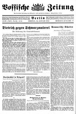 Vossische Zeitung vom 16.01.1931