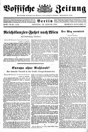 Vossische Zeitung vom 18.01.1931