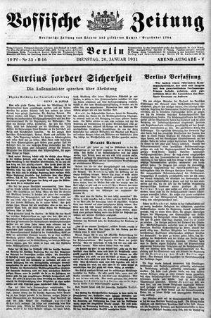 Vossische Zeitung vom 20.01.1931