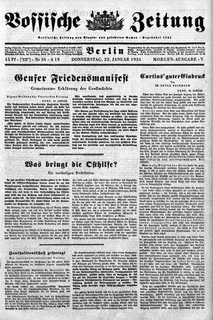 Vossische Zeitung vom 22.01.1931