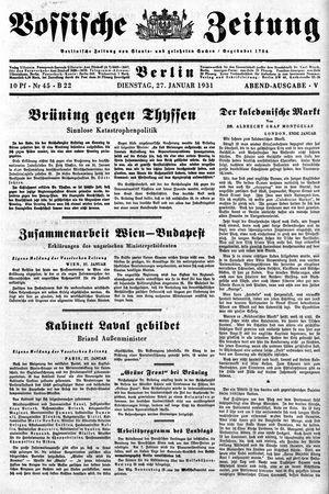 Vossische Zeitung vom 27.01.1931