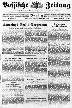 Vossische Zeitung vom 29.01.1931