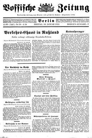 Vossische Zeitung vom 30.01.1931