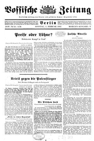 Vossische Zeitung vom 01.02.1931