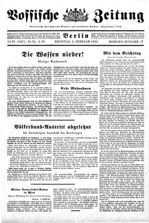 Vossische Zeitung vom 03.02.1931