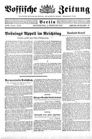 Vossische Zeitung on Feb 5, 1931